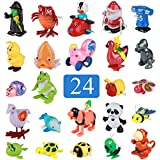 Real Wind up Toys 24 pcs Assorted Toy Animal for Children's Party Gifts Kids Birthdays Party Favor