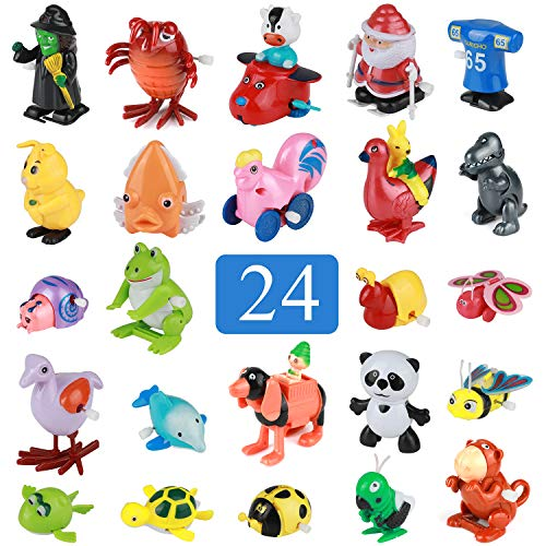 Real Wind up Toys 24 pcs Assorted Toy Animal for Childrens Party Gifts Kids Birthdays Party Favor