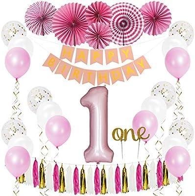 Amazon.com: Jiami 1er cumpleaños decoraciones para niña 1er ...