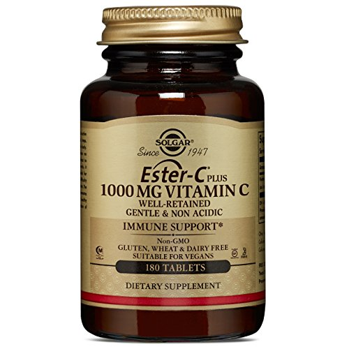 (Solgar Ester-C® Plus 1000 mg Vitamin C, Immune Support, Well-Retained, Gentle & Non Acidic, Non-GMO, Suitable for Vegans, 180 Tablets)