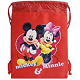Disney Mickey and Minnie Mouse Red Drawstring Bag For Sale