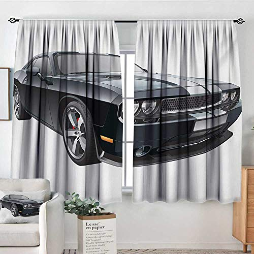 Cars Room Darkening Curtains Black Modern Pony Car with White Racing Stripes Coupe Sports Dragster Print Thermal Blackout Curtains 63