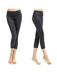 SOUTEAM Women's Workout Capri Pants Printed Active Yoga Leggings, Watercolor Pattern
