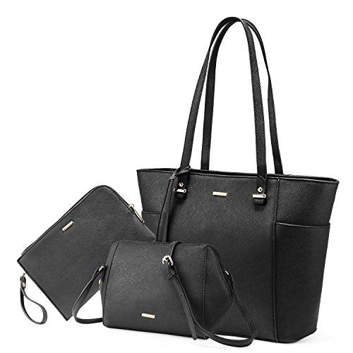 LOVEVOOK Women Purses and Handbags Chic Crossbody Bag Hobo 3pcs Large Capacity Black ()