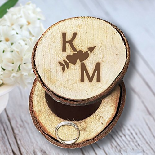 Custom An Cupid Arrow through the Heart Personalized Initials Wedding/Valentines Engagement Chic Wooden Ring Box Wedding - Co Tiffany Heart &