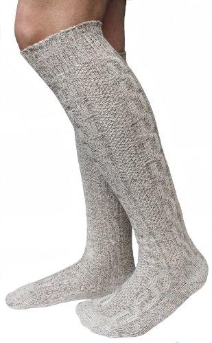 Lange Herren Trachten Socken, Kniebund Socken, Strümpfe für ihre Lederhose, 1 Paar beige/meliert (M(43-45))