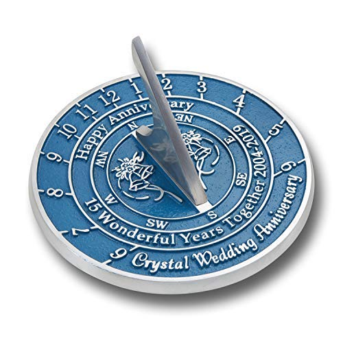 The Metal Foundry 15th Crystal Wedding Anniversary 2019 Sundial Gift Idea is A Great Present for Him, for Her Or for A Couple to Celebrate 15 Years of ...