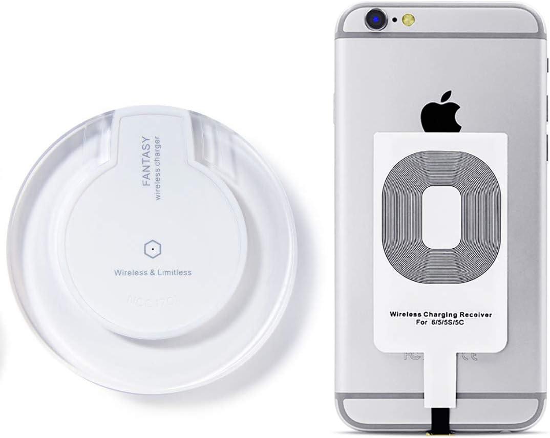 Cargador Inalámbrico + Receptor - Cargador de móvil por inducción para iPhone 7/7 Plus 6s/6s Plus 6/6Plus 5s/5c/5 Galaxy Galaxy S7, S7 borde Galaxy, Galaxy S6, S6 + Edge Nexus 4/5/6/7 (2013)