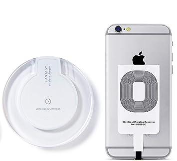 Cargador Inalámbrico + Receptor - Cargador de móvil por inducción para iPhone 7/7 Plus 6s/6s Plus 6/6Plus 5s/5c/5 Galaxy Galaxy S7, S7 borde Galaxy, ...