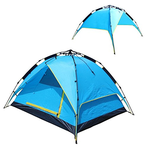 EAXEA 4 Person Popup Tents for Camping,3 Season Waterproof Tent blue