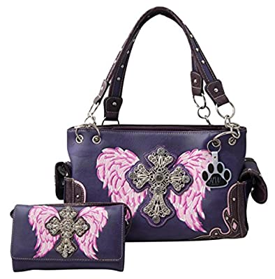 HW Collection Western Purse Rhinestone Cross Angel Wings Concealed Carry Handbag and Wallet Set