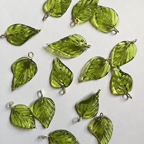 21 Olive Green Glass Vintage 3-D Curvy Pressed Leaves Leaf Beads Jewelry Making, Costumes,Crafts,Curtains,Beads Necklaces, Earrings Etc 12mmx30mm (Green)