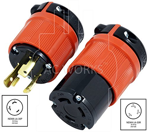 AC WORKS [ASL630PR] NEMA L6-30 30Amp 250Volt 3Prong Locking Male Plug and Female Connector UL, C-UL Approval by AC WORKS (Image #1)