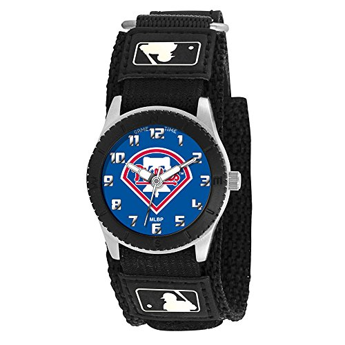 Game Time Boy's 'Rookie' Quartz Metal and Canvas Casual Watch, Color:Black (Model: MLB-ROB-PHI2) (Rookie Canvas)