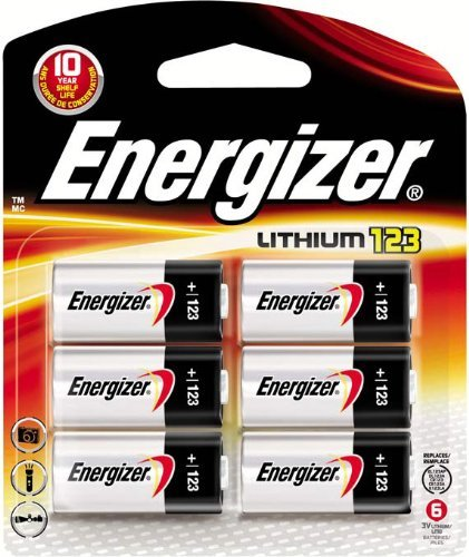 - Energizer 123 Lithium Photo Batteries, 6-Pack