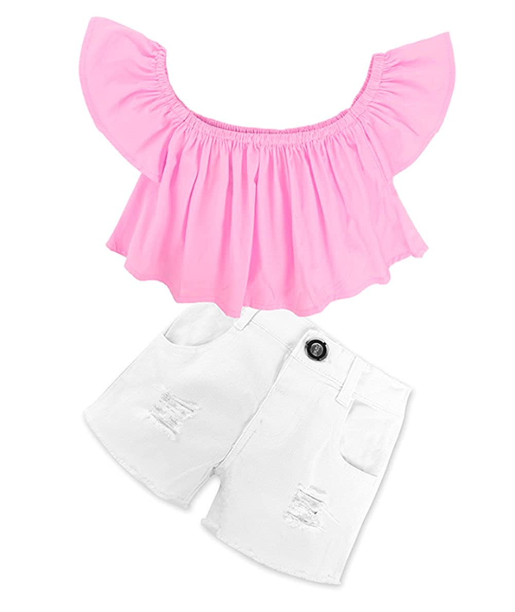BANGELY Kids Baby Girls Off-Shoulder Ruffle Flouncing Shirt Tops+Denim Hole Pants Set Z1310