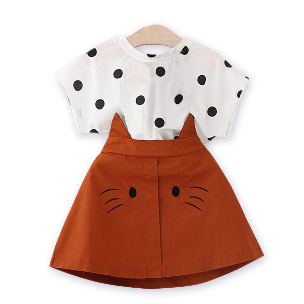 Yaffi Toddler Baby Girls Two Pieces Outfit Set Short Sleeves Polka Dot Blouse and Cat Skirt