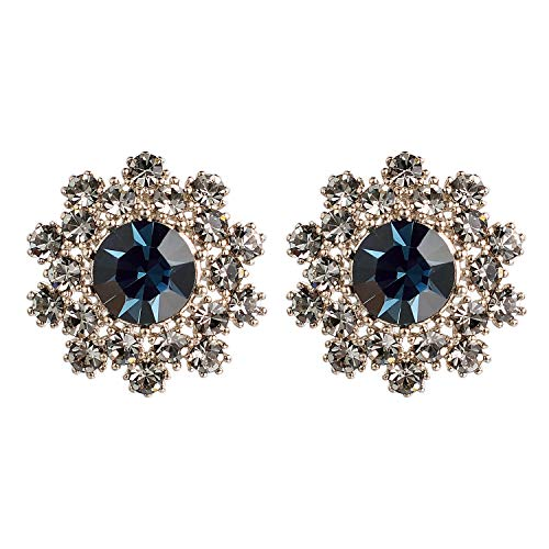 - Yoursfs Clip-on Flower Earrings Blue Stone Silver Tone Rhinestone Non Pierced Earrings