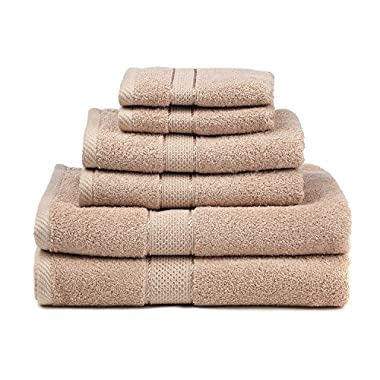 Premium Bamboo Cotton 6 Piece Towel Set (2 Bath Towels, 2 Hand Towels and 2 Washcloths) - Natural, Ultra Absorbent and Eco-Friendly (Blush)