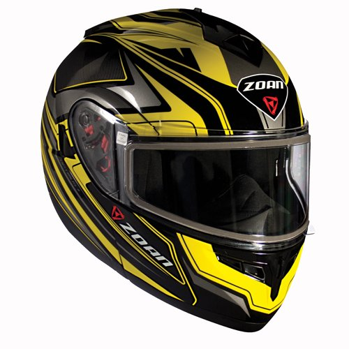 Zoan Optimus Snow Eclipse Yellow Dual Lens Modular Flip Up Snowmobile Riding Helmet - Snow Helmet Modular Eclipse