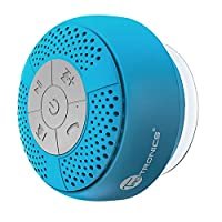 Bluetooth Shower Speaker, TaoTronics Water Resistant Wireless Bluetooth Speaker TT-SK03 (Build-in Microphone, Solid Suction Cup, 6 hrs Play Time, Blue)