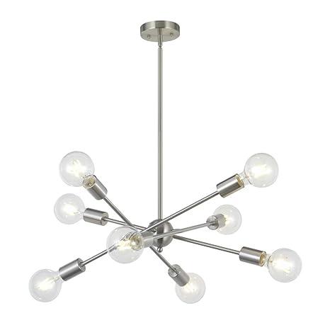 8 Lights Modern Sputnik Chandelier Lighting With Adjustable Arms Mid