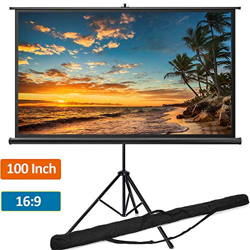 Portable Projector Screen with Tripod Stand 100 inch 16:9, Indoor Outdoor Foldable Movie Screen with Wrinkle-Free Design   Projection Screen for Home Theater Cinema Wedding Party Office