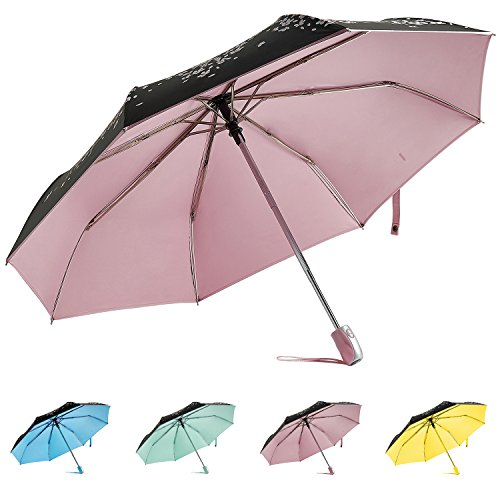 (RENZER Travel Umbrella Compact Rain Umbrella Windproof for Women Automatic Open/close Durability Cherry Sunny Umbrellas Pink)
