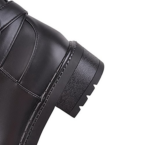 AgooLar Women's PU Solid Zipper Round-Toe Kitten-Heels Boots Black yEG8i