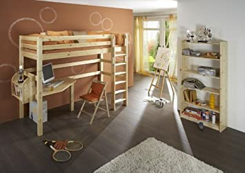 Hochbett Etagenbett Mit Schreibtisch : Hochbett etagenbett mit schreibtisch dolphin fantasy kiefer massiv