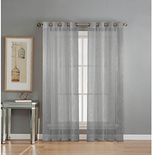 Window Elements Diamante Cotton Blend Burnout Sheer 76 x 84 in. Grommet Curtain Panel Pair