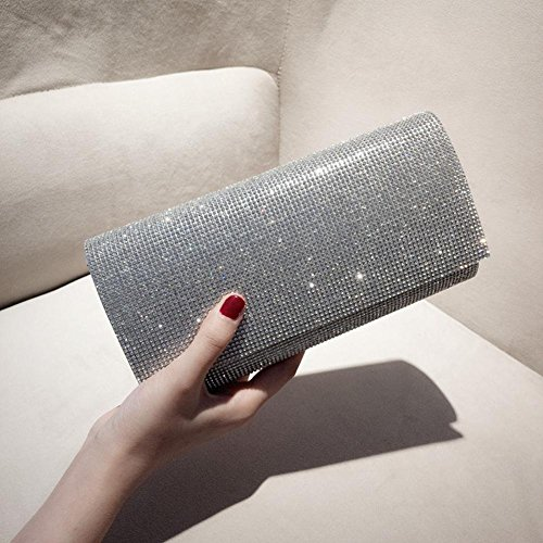 Wedding Silver Bags Frosted Party for Clutch Shoulder Rhinestone Envelope Women's Evening Handbag awXqPCnv