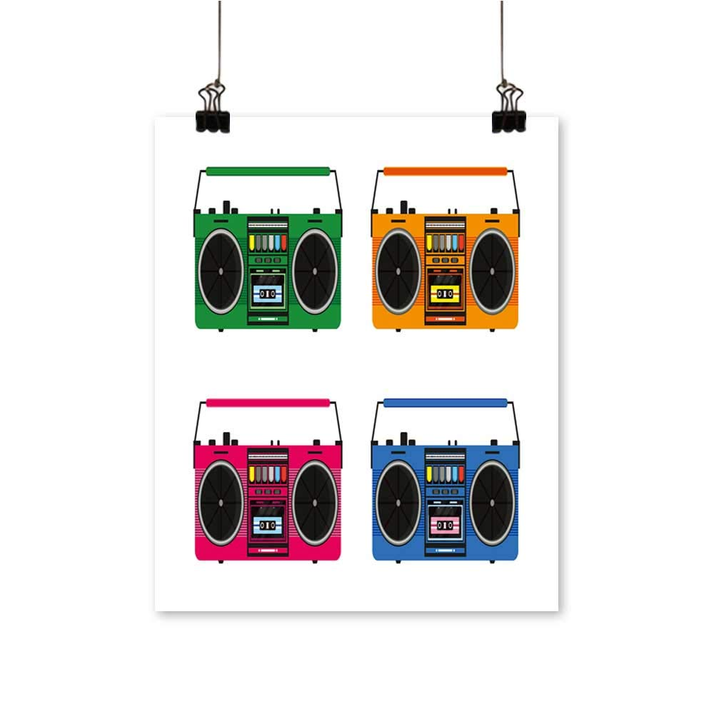 Office Decorationsflat Vintage Tape recorders Set for Audio Cassettes musi Boombox -Abstract Art Painting,28''W x 52''L/1pc(Frameless) by painting-home