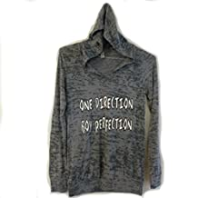 One Direction Burnout Top Shirt Hooded Gray Black White Women's S & M
