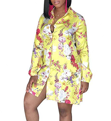 Straight Collar Dress Shirt - Remelon Womens Floral Print Button Down Collar Long Shirt Dress Blouse Mini Dress Yellow XL