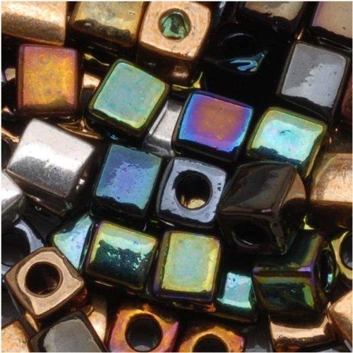 Miyuki 4 mm cuentas Cubo de vidrio 10 gramos de Metal pesado