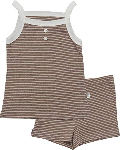 AVAUMA Newborn Baby Little Boy Girl Stripe Sleeveless Pajamas Summer Short Sets Pjs Kids Clothes (S/Beige)