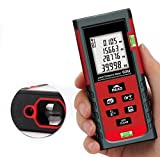 Laser Distance Meter, Digital Laser Handheld Rangefinder Distance Meter 131 Feet Laser Measure with Pythagorean Theorem,Self Calibration Storage (30 units) Range Finder with m/in/ft