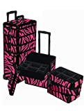 4 in 1 Pink Zebra Rolling Makeup Case, Bags Central