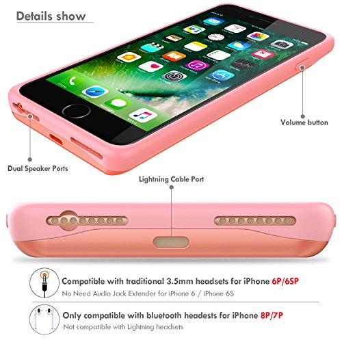 Emishine iPhone 8 plus 7 plus/6 plus/6S plus Battery Case, Ultra Thin Rechargeable Charging Case for iPhone 7 plus/6 plus/6S plus Case Battery with 4000mAh (Rose Gold-5.5'') by Emishine (Image #3)