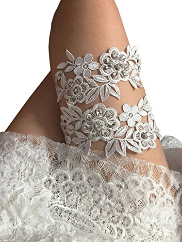 Thick lace legs garter set with rhinestones wedding garter set (Silver)