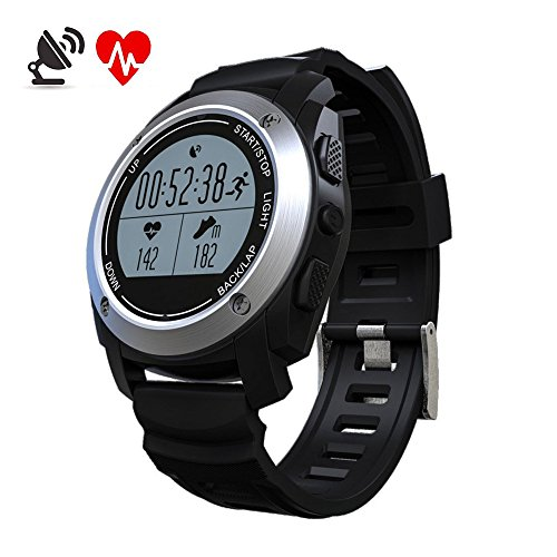 GPS Bluetooth Smartwatch MOREFINE Sport Waterproof Fitness Activity Tracker Wristwatch for Android IOS Realtime Heart Rate Height Race Monitor Air Pressure Environment Temperature Measure Health Gift