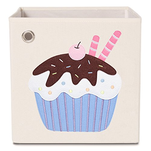 kaikai & ash Toy Storage Bins, Foldable Canvas Cube Box for Kids, 13 inch - Chocolate Cupcake