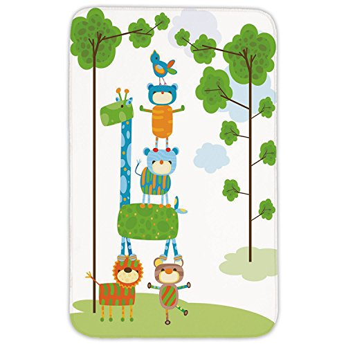 Rectangular Area Rug Mat Rug,Nursery,Funny Cute Jungle Creatures Balancing on Each Other Animal Tower in Forest Decorative,Green Blue Orange,Home Decor Mat with Non Slip Backing by iPrint