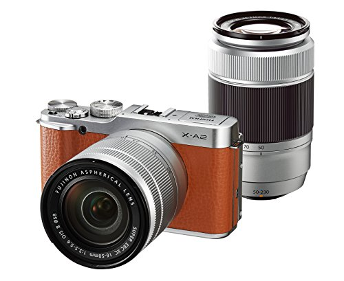 Fujifilm-X-A2-Mirrorless-Digital-Camera-with-16-50mm-II-50-230mm-II-Twin-Zoom-Lens-Kit-Brown-International-Version