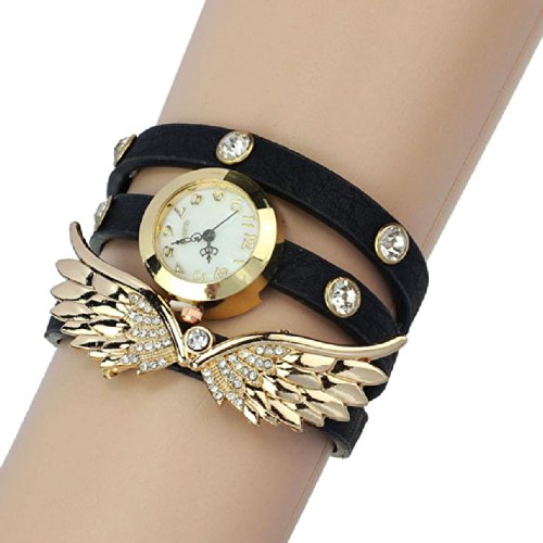 Coromose Leather Strap Angel Wings Rivet Wristwatch - Glasses Most Popular 2014