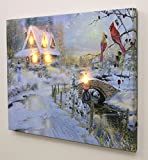 LED Canvas Art Print Wall Decoration - Village Cottages Along a Stream Christmas Scene with Cardinals and Snowman - Old Fashioned Cobblestone Bridge - 12x16 Inch by Banberry Designs