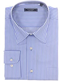 Classic Fit Blue And White Striped Cotton Dress Shirt