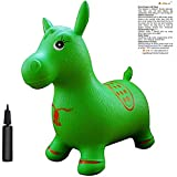 Toys : Green Horse Hopper, Pump Included (Inflatable Jumping Horse, Space Hopper, Ride-on Bouncy Animal)