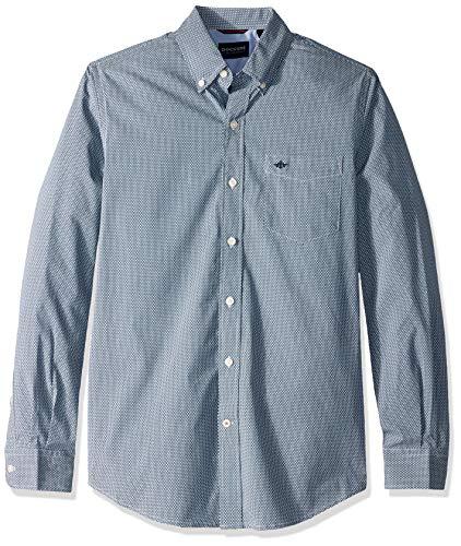 Dockers Men's Long Sleeve Button Front Comfort Flex Shirt, Bruns Ocean Blue, 2X-Large (Xxl Shirt Dress)